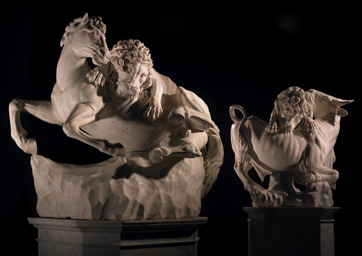 Pareja de esculturas de leones – Atribuidas a Giovanni Battista Foggini y taller. Galería Tomasso Brothers.