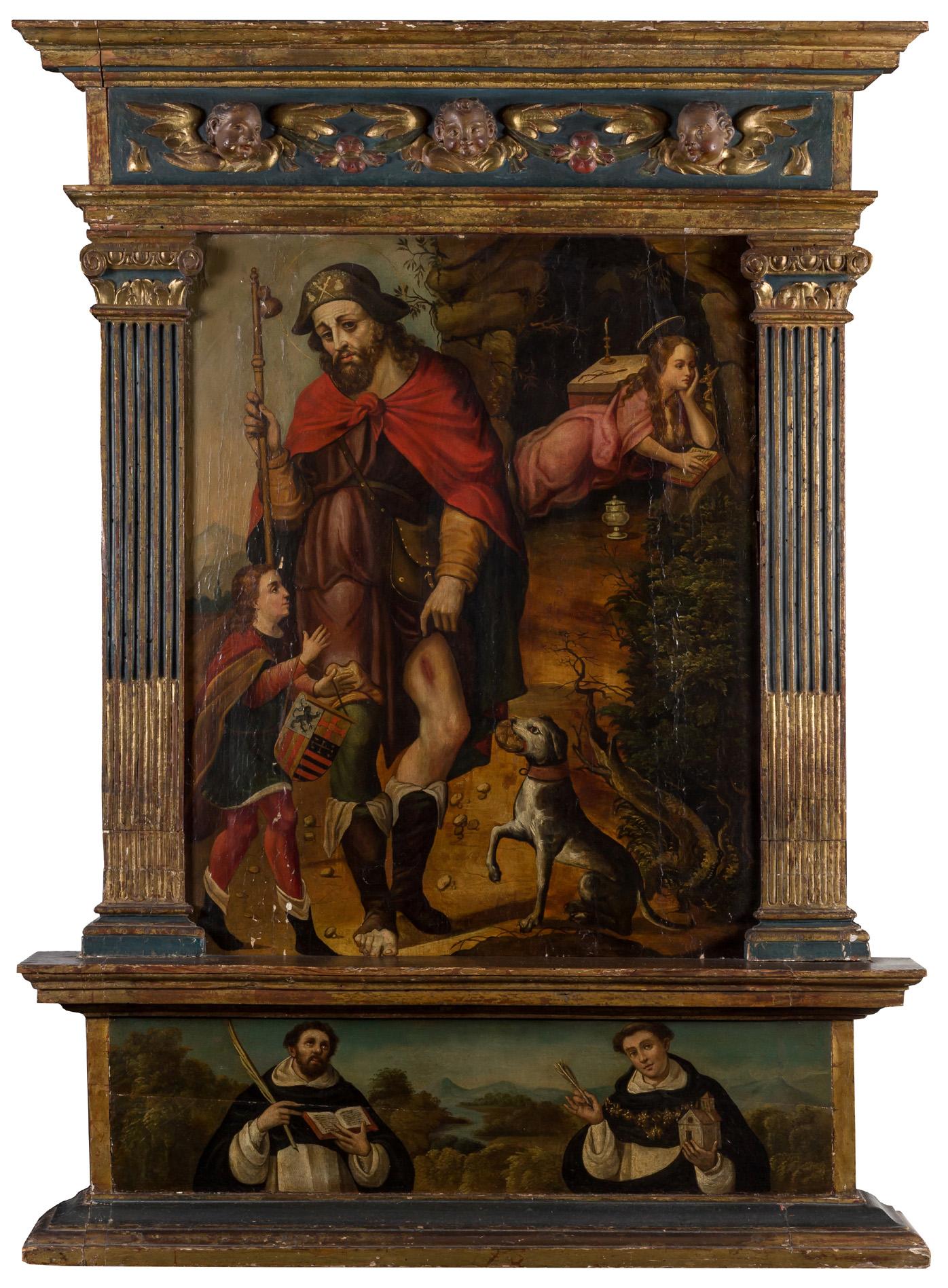 Taller de Luis de Morales. Retablo de san Roque y la Magdalena y santos dominicos. Salida y remate: 12.000 euros. Comprado por el Estado