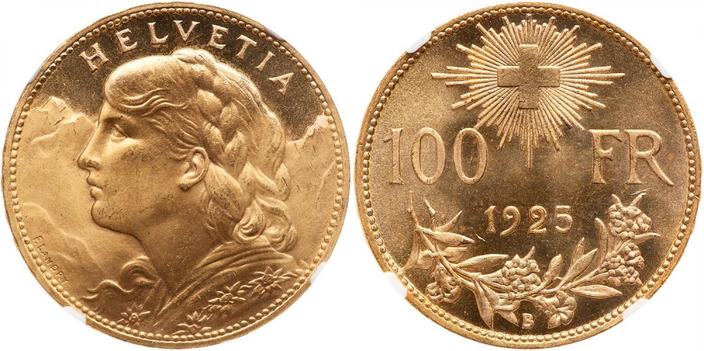 100 francos suizos. 1925. Rematada en 25.000USD. Goldberg