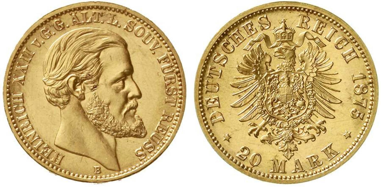 20 marcos. 1875 B, Reuss. Salida 45.000 euro. Teutoburger