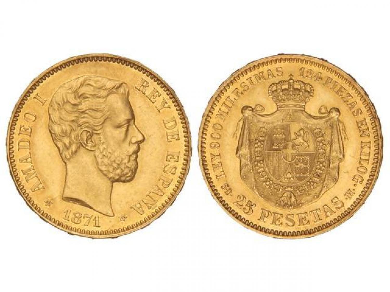 25 pesetas. Amadeo I. 1871. Salida 55.000 euro. Marti Hervera