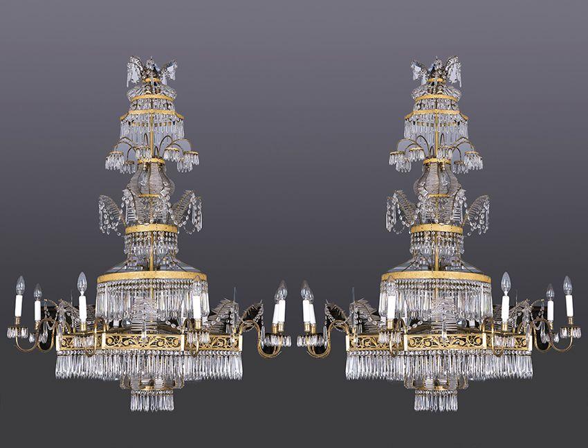 616-Pareja de grandes lámparas de techo Carlos IV, principios S. XIX, de 8 luces en bronce y cristal.00