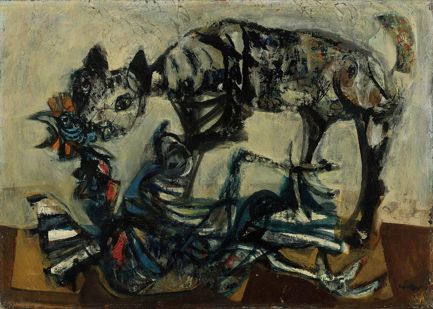 Antoni Clavé. Chat et coq, 1948. Salida: 18.000 euros. Remate: 22.500 euros