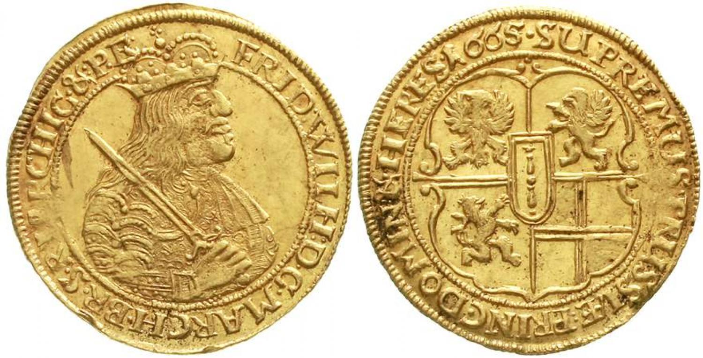 Ducado. 1665. Brandenburgo, Prusia. Salida 13.500 euro. Teutoburger