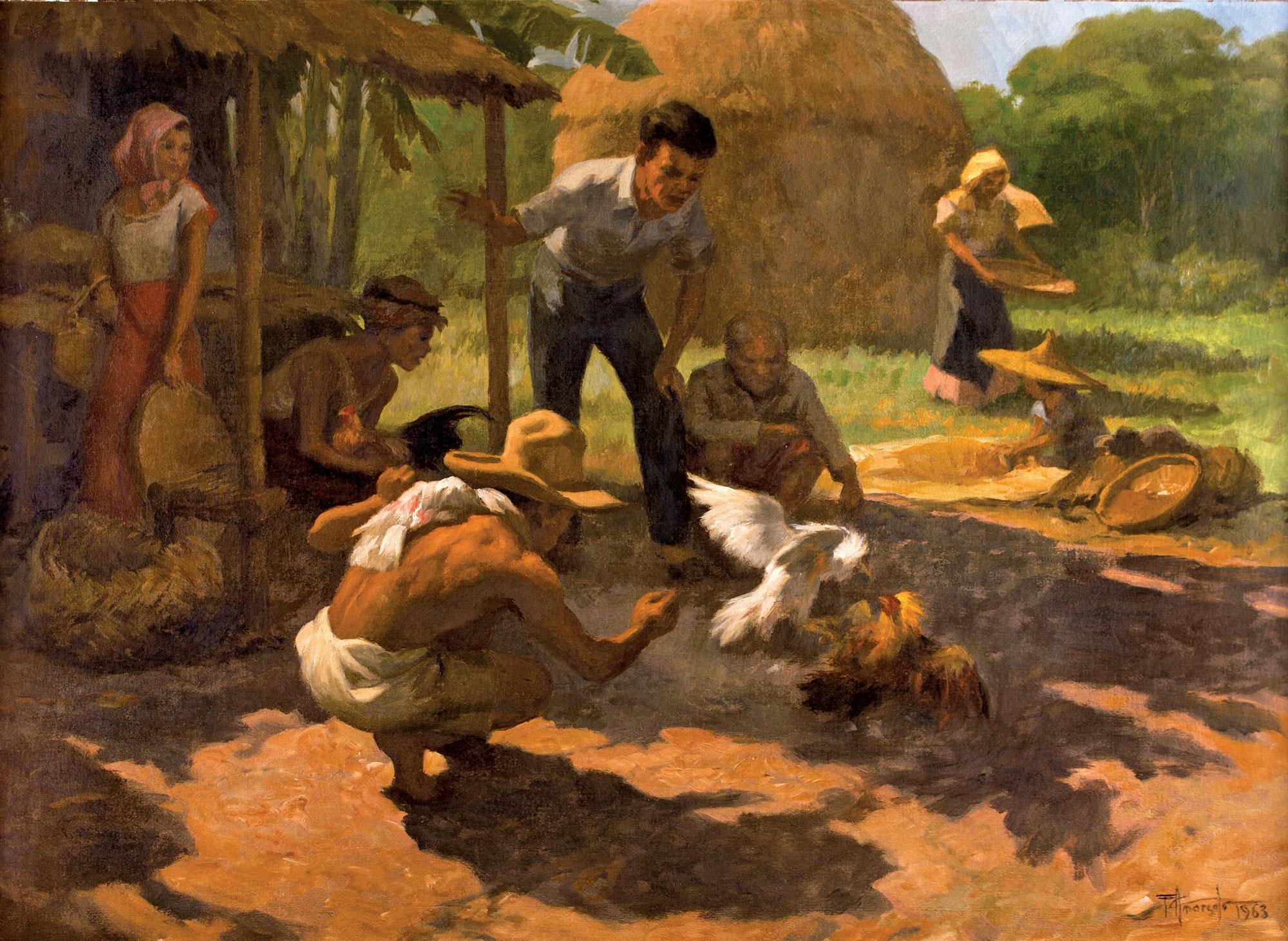 Fernando Amorsolo. Tupada (Riña o Pelea de gallos), 1963. Salida: 45.000 euros. Remate: 50.000 euros