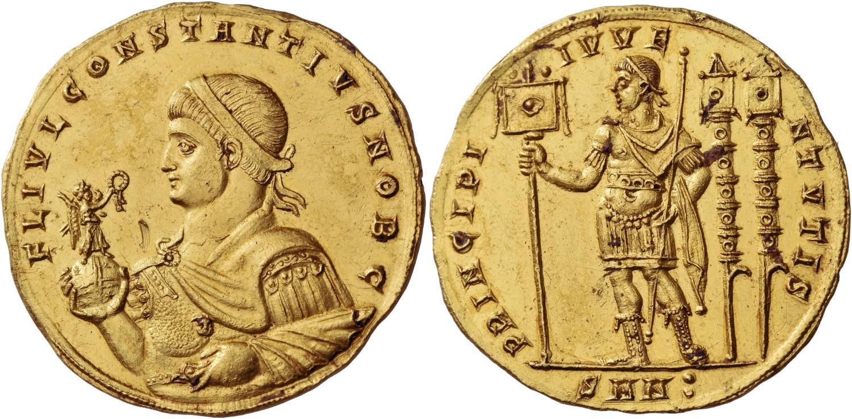 Medallón de Constantino II. Salida 480.000 francos suizos. Numismatica Ars Classica