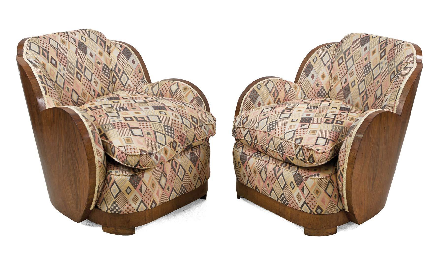 1206-Pareja-de-sillones-decó-en-madera-de-raíz-y-tapizados,-C.1940.01