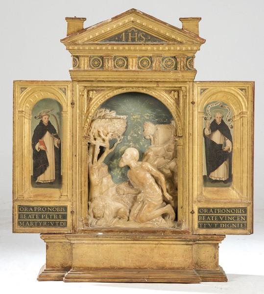 614 Escuela Española S. XVI San Jerónimo Penitente Placa de alabastro tallada en relieve y policromada.00