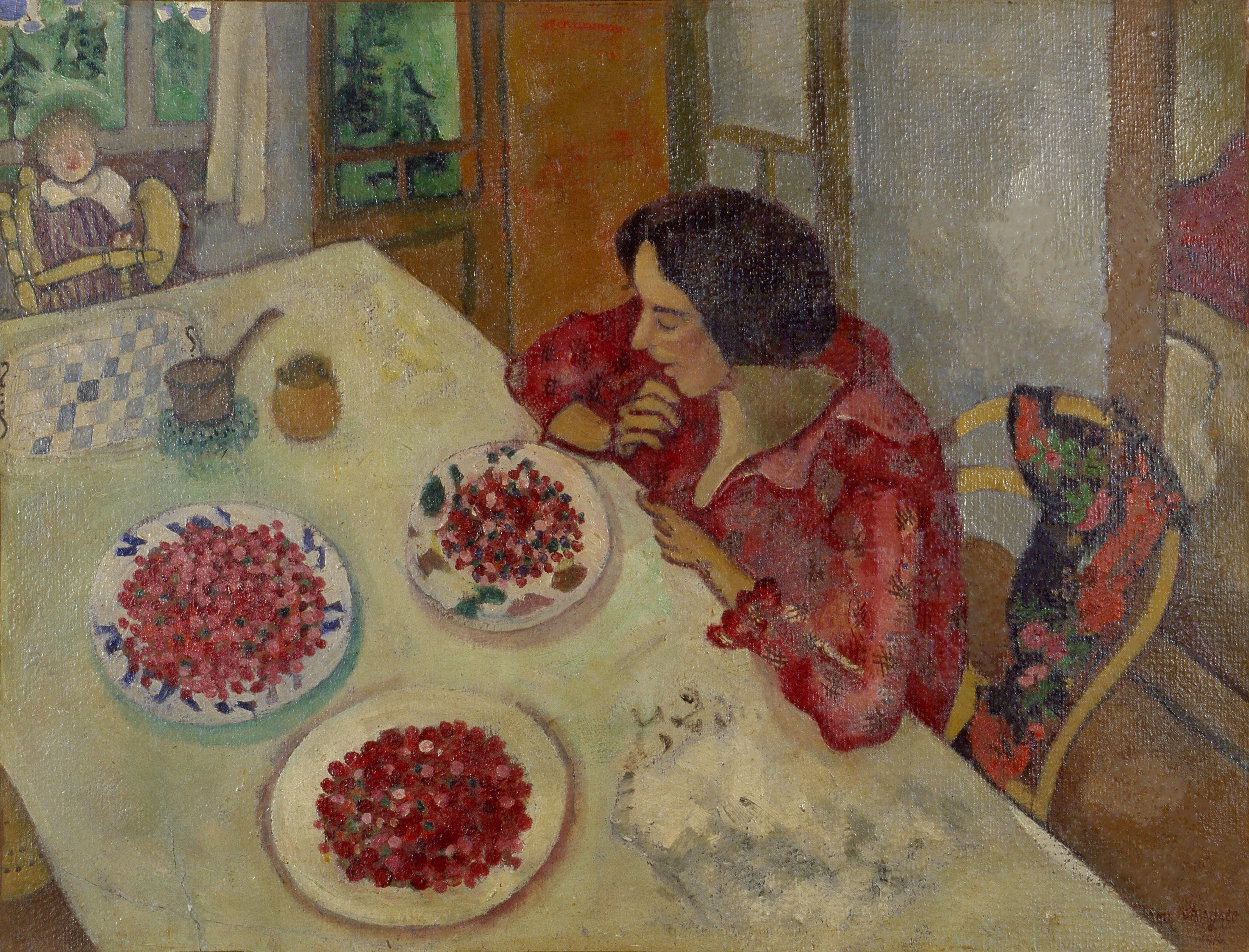 Erdbeeren_Bella_und_Ida_am_Tisch_1916_Meyer