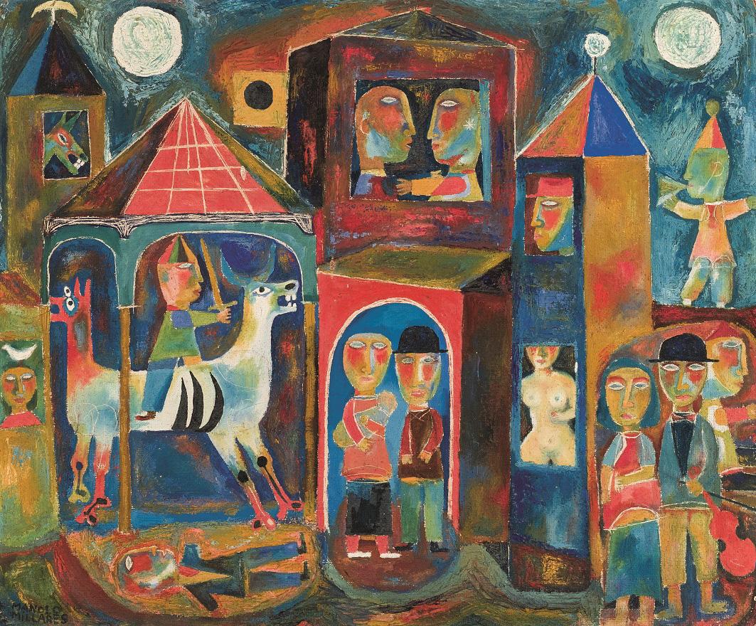 Manolo Millares. Dos lunas, c. 1953. Salida y remate: 25.000 euros. Comprado por el Estado