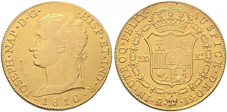 320 reales. José Napoleón. 1810. Salida 6.500 euro. Cayón Subastas