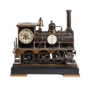 372 Reloj de sobremesa francés con máquina de tren autómata, ffs.S.XIX.00