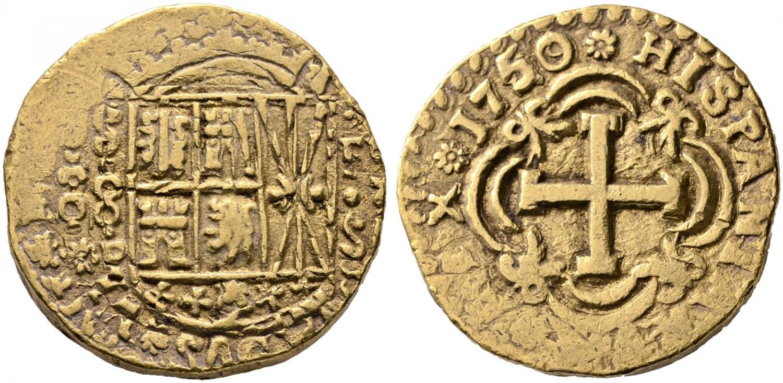 8 escudos. Nuevo Reino. 1750. Salida 7.000 euro. Cayón Subastas