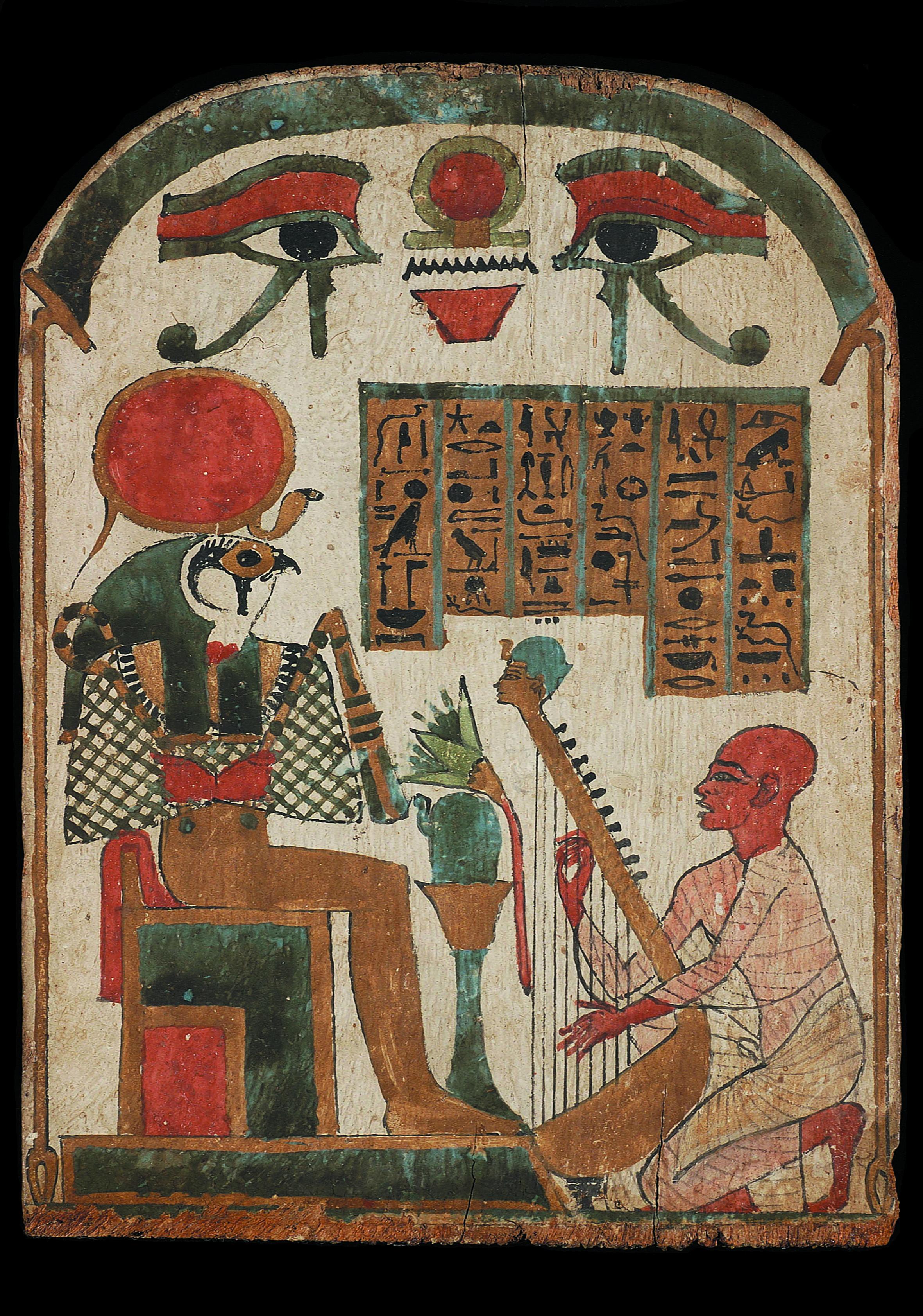 Le musicien d'Amon Djedkhonsouiouef'nkh joue de la harpe devant le dieu RÍ-Horakhty