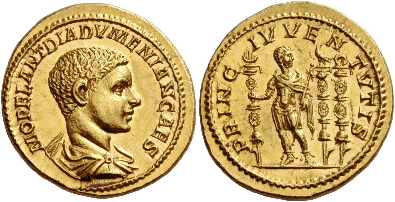 Áureo de Diadumeniano. Rematado en 240.000 francos suizos. Numismatica Ars Classica