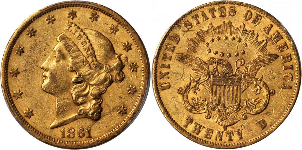 20 dólares 1861 S. Rematado en 96.000 US dól. Stacks Bowers