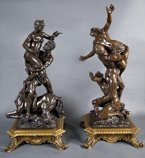 635 Víctor Paillard Heudicourt, 1805 – París, 1886. Hercules, Deyanira y el centauro Neso Escultura en bronce pavonado. 00