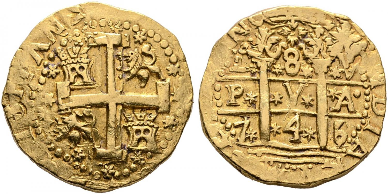 8 escudos. Lima. 1745. Rematado en 11.400 euro. Cayón Subastas (1)