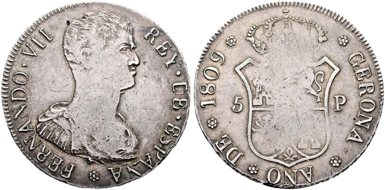 8 reales de Fernando VII. Gerona. 1809. Rematado en 32.400 euro. Cayón Subastas