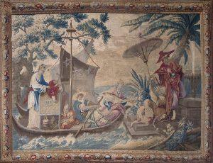 948-Tapiz-Aubusson-en-lana.-Serie-china,-época-Luis-XV,-C.-1750.-Retorno-de-la-pesca.01