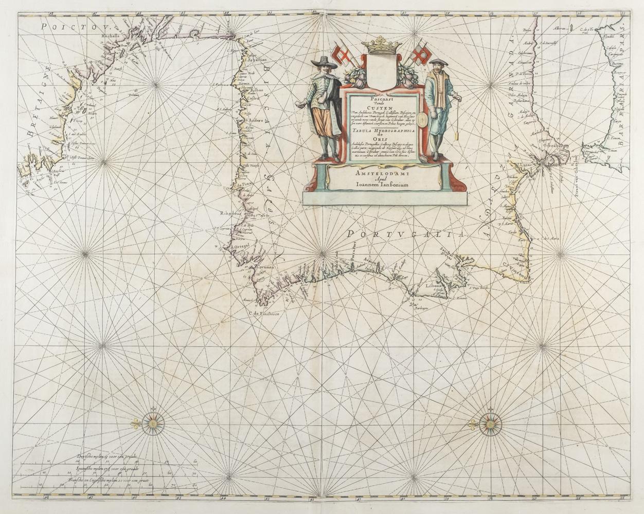 09–carta-nautica-de-la-peninsula-iberica-2C-johannes-janssonius-2C-1650
