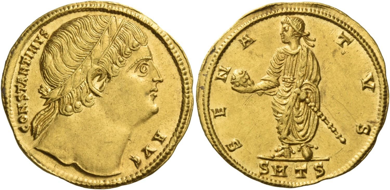 2 sólidos de Constantino. Estimado en 100.000ffss. Numismatica Ars Classica