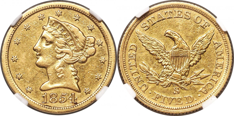 5 USD 1854 S. Rematado en 2.160.000$. Heritage