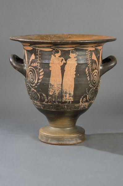 642 Crátera de cerámica negra con la técnica de las figuras rojas, Magna Grecia S. IV a.C. Con Certificado de Análisis por Termoluminiscéncia de Laboratorios QED. 00