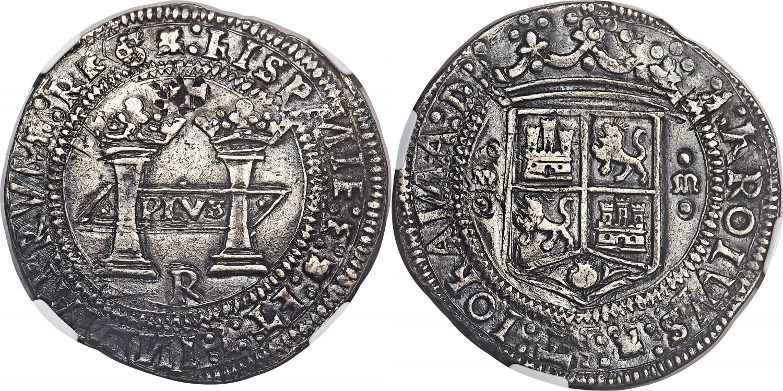 8 reales de Carlos y Juana, Méjico R. Adjudicado en 528.000$. Heritage