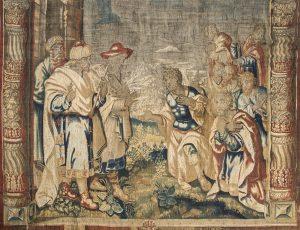 963 Alejandro Magno se postra ante el gran sacerdote de Jerusalem. Tapiz de Bruselas S. XVII.00