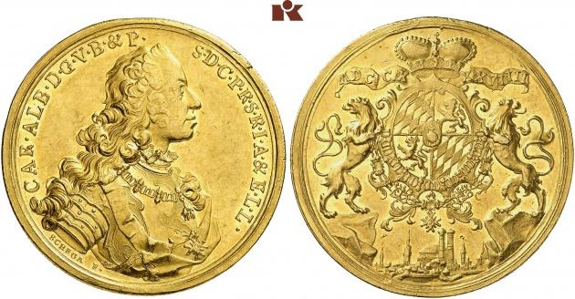 20 ducados de Carlos Alberto, 1739. Rematado en 200.000 euro. Fritz Rudolf Kuenker