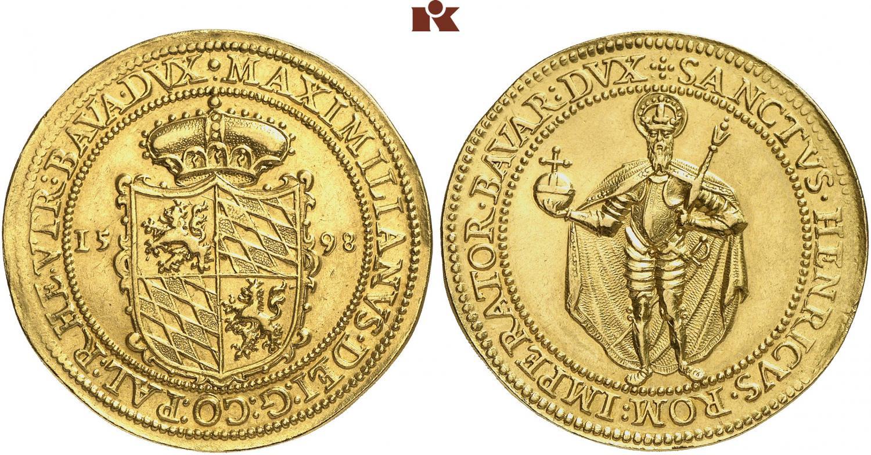 8 ducados de 1598. Bayern. Rematado en 140.000 euro. Fritz Rudolf Kuenker