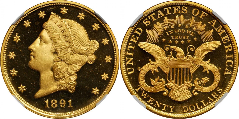 20$ 1891. Rematado en 192.000 usd. Stacks Bowers and Ponterio