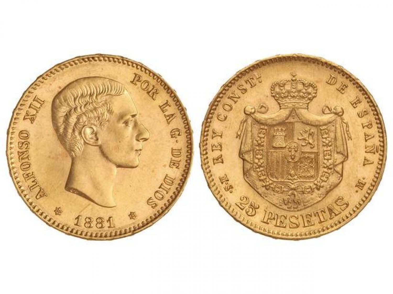25 pesetas. 1881. Sin barba. Rematado en 46.000 euro. Martí Hervera
