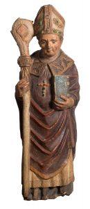 35.01-Obispo.-Importante-figura-en-piedra-esculpida,-policromada,-y-con-pedrería.-Posiblemente-Francia.-Gótico.-Siglo-XIV—XV