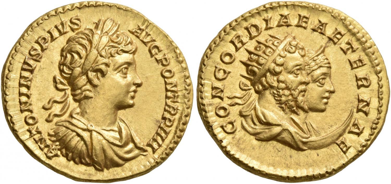 Áureo de Caracalla. Rematado en 43.000 francos suizos. Leu Numismatik
