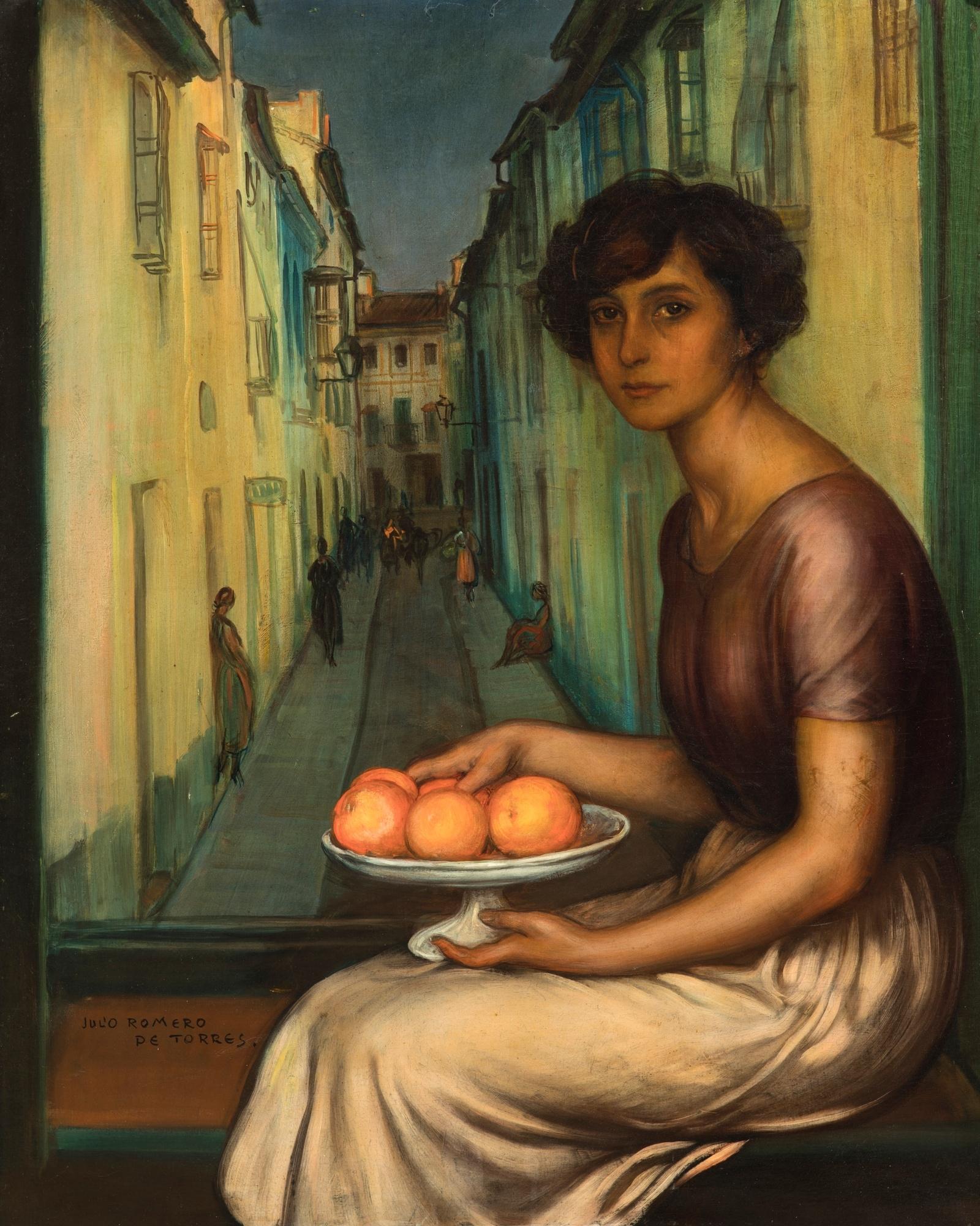 Julio Romero de Torres (Córdoba 1874 – 1930) La niña de la calle armas Oil on canvas, 94 x 75,7 cm