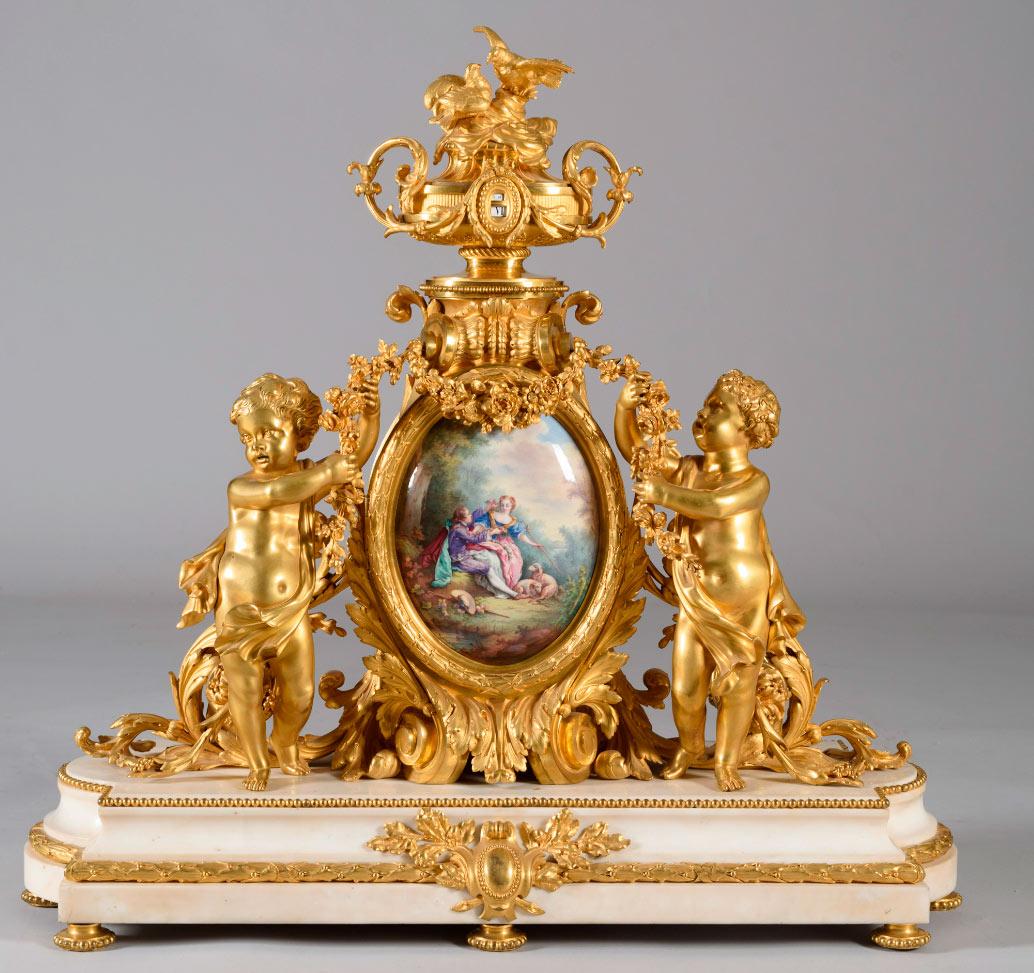 """483-Reloj-de-sobremesa-""""tournant""""-estilo-Luis-XV,-Napoleón-III,-Paris,-1855"""