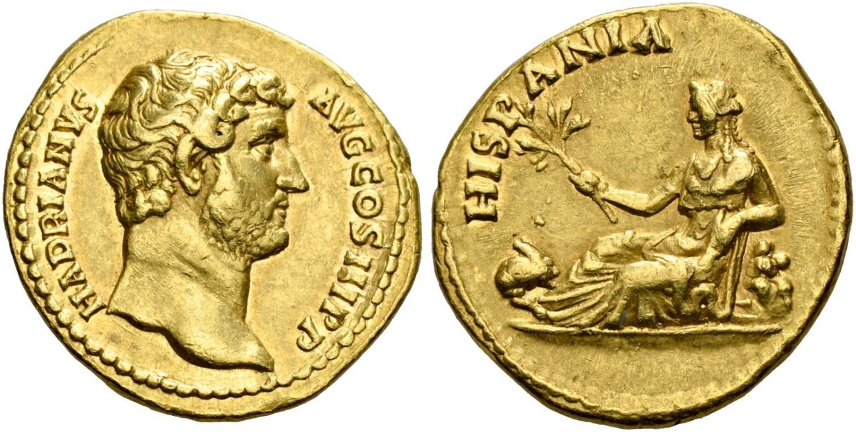 Áureo de Adriano. Hispania. Salida 7.500 francos suizos. Hess Divo