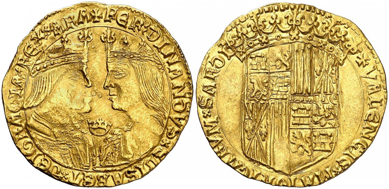 Doble ducado de Valencia. Reyes Católicos. Salida 150.000 euro. AureoCalico