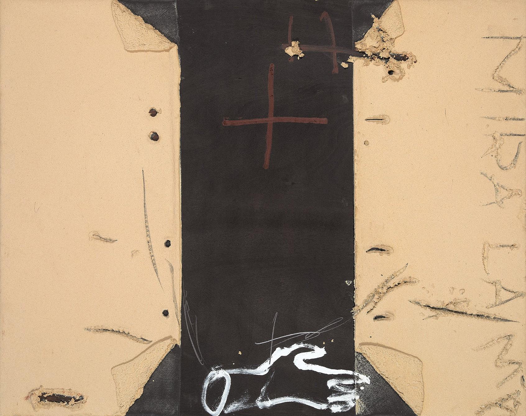 Antoni Tàpies. Má sobre negre, 1998. Salida: 210.000 euros. Remate: 230.000 euros