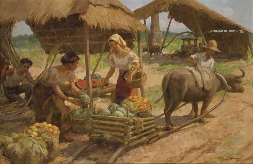 Fernando Amorsolo. La vendedora de frutas, 1961. Salida: 50.000 euros. Remate: 90.000 euros