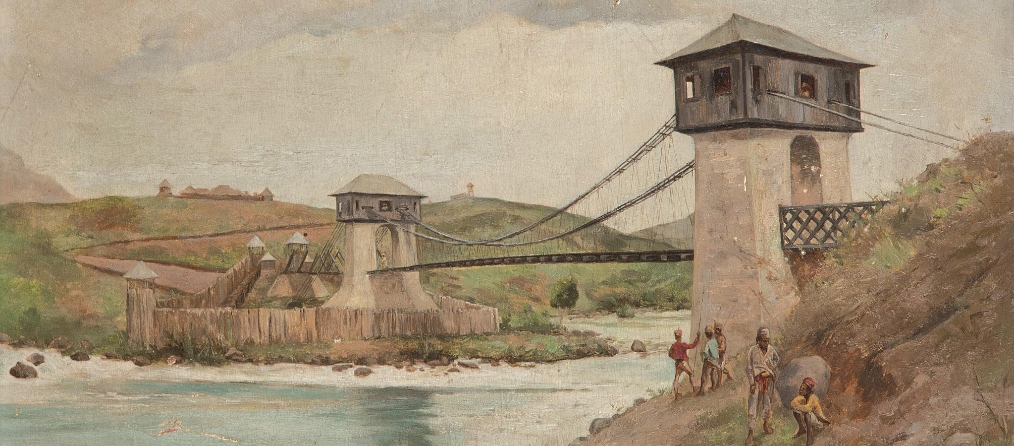 José Taviel de Andrade. Vista del puente Alfonso XIII sobre el río Agus, Marawi, 1896, detalle