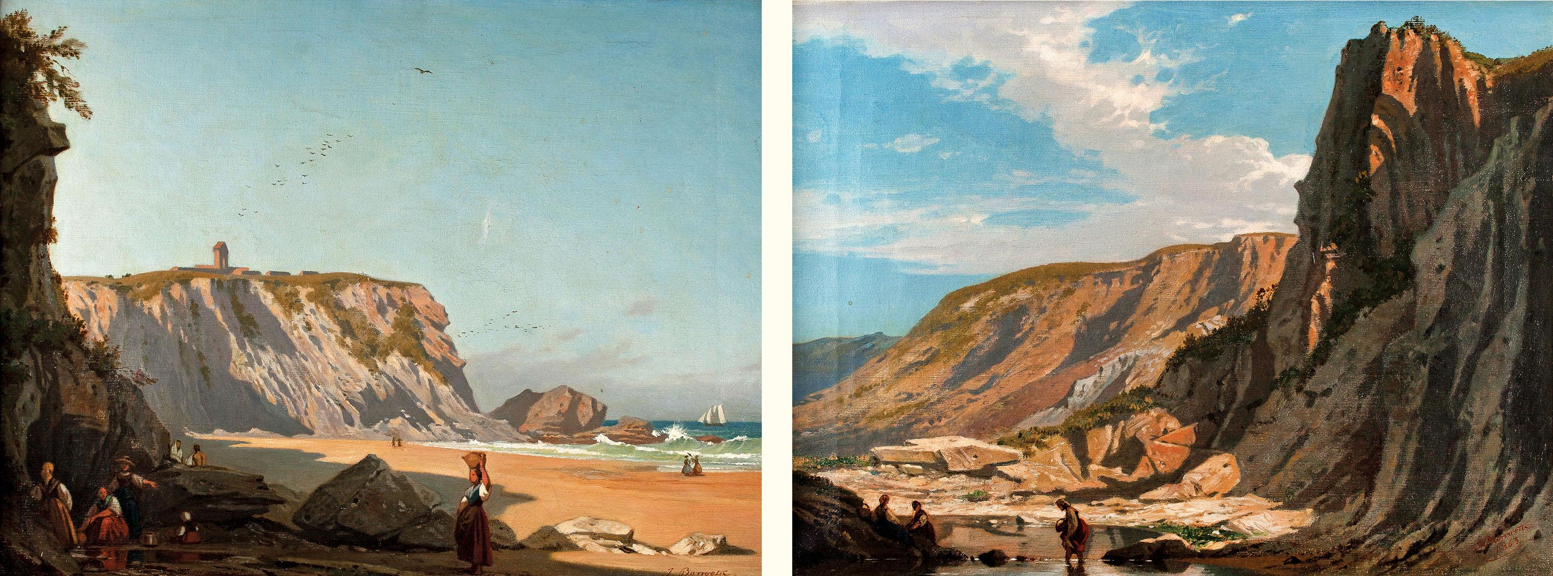 Juan de Barroeta. Paisaje con montaña y Playa de Sopelana, 1863. Salida: 1.800 euros. Remate: 5.000 euros. Comprado por el Estado