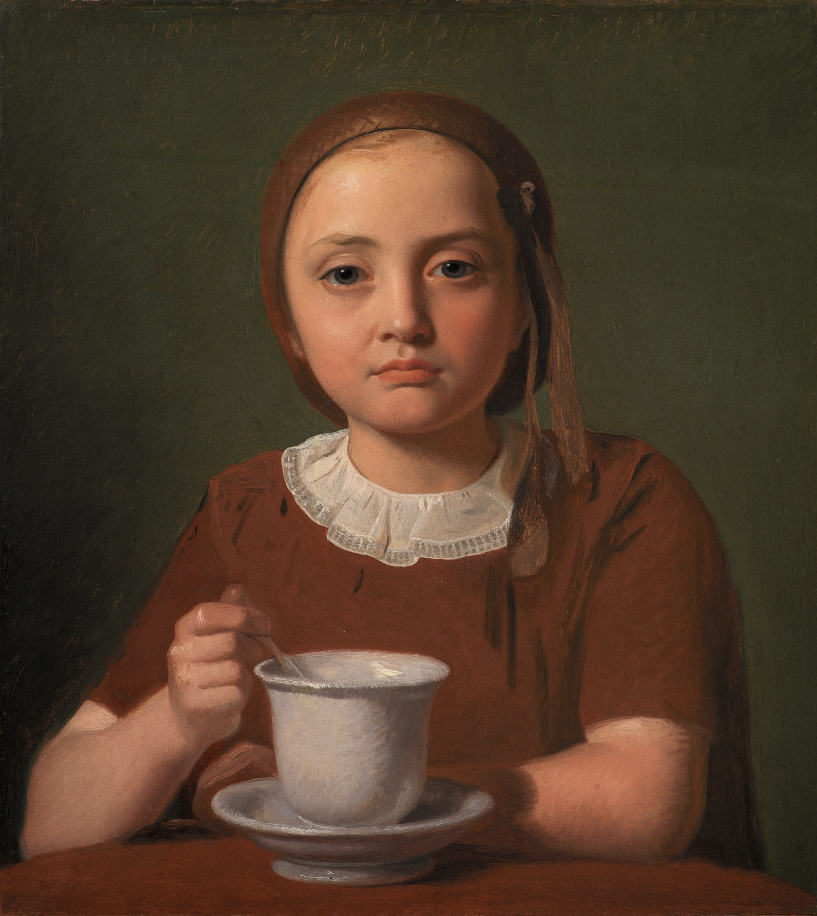 constantin-hansen-retrato-de-nia-pequeaelise-kobke-con-una-taza-frente-a-ella-1850