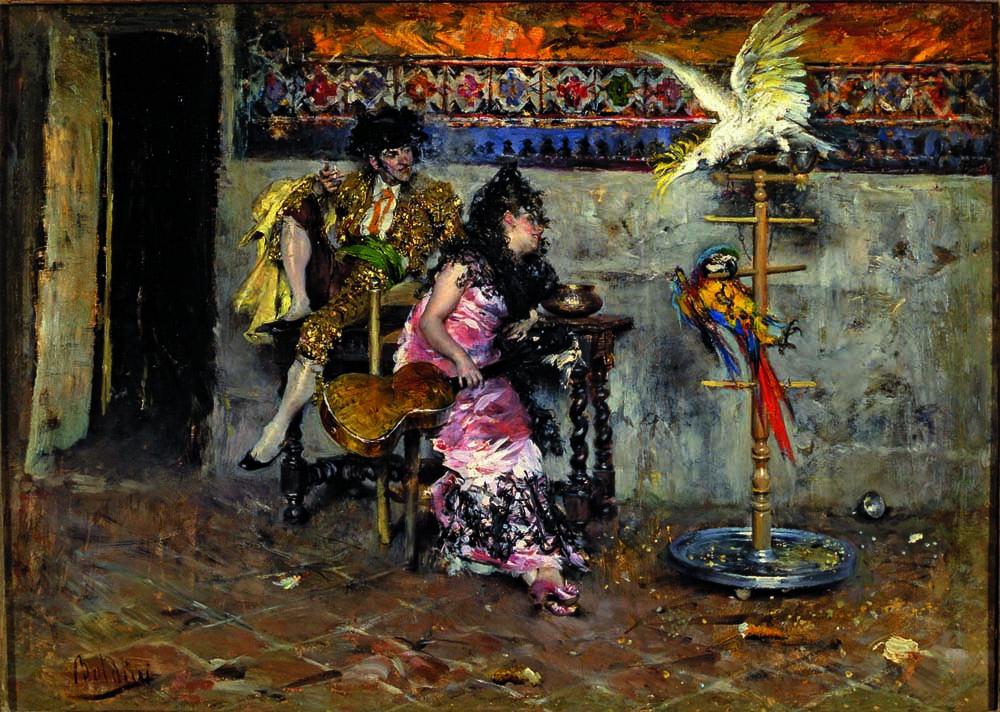 Coppia in abiti spagnoli con due pappagalli – Il Matador