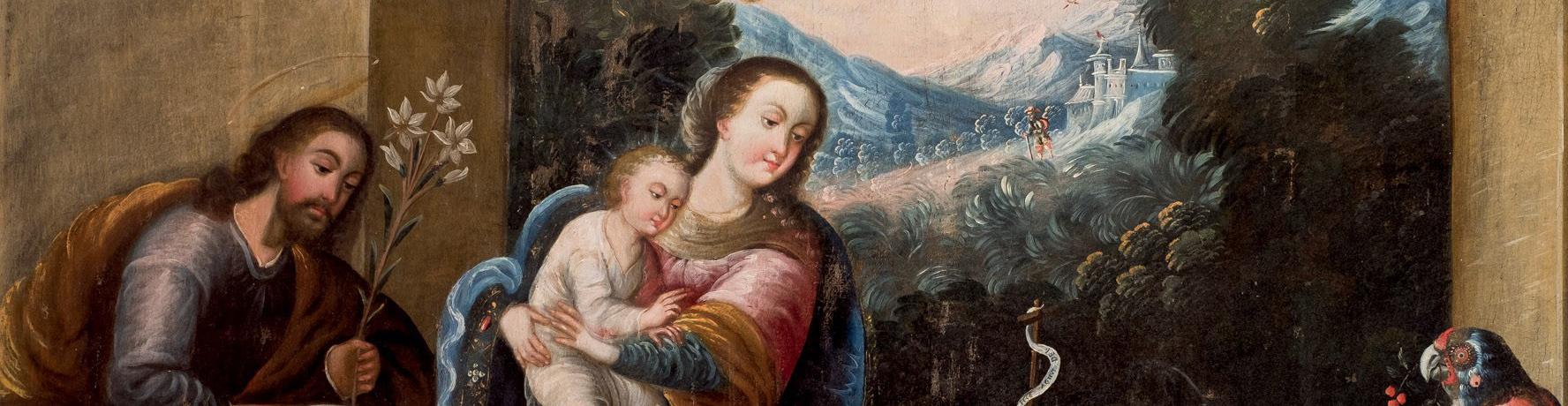 Taller de Diego Quipe Tito. Sagrada Familia con san Juanito, detalle