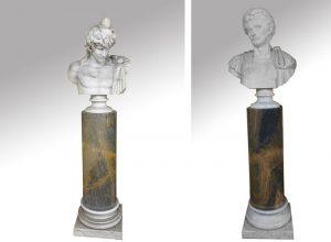 858-escuela-italiana-s.xix-busto-de-baco-busto-de-emperador-romano.-pareja-de-esculturas-en-mrmol-blanco-sobre-columnas-en-mrmol-gris-veteado.