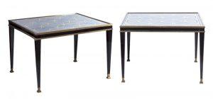 616-marc-du-plantier-pareja-de-mesas-auxiliares-lacadas-en-negro-y-bronce-con-tapas-de-vidrio-eglomis-con-decoracin-de-crculos-enlazados-en-dorado-aos-40.