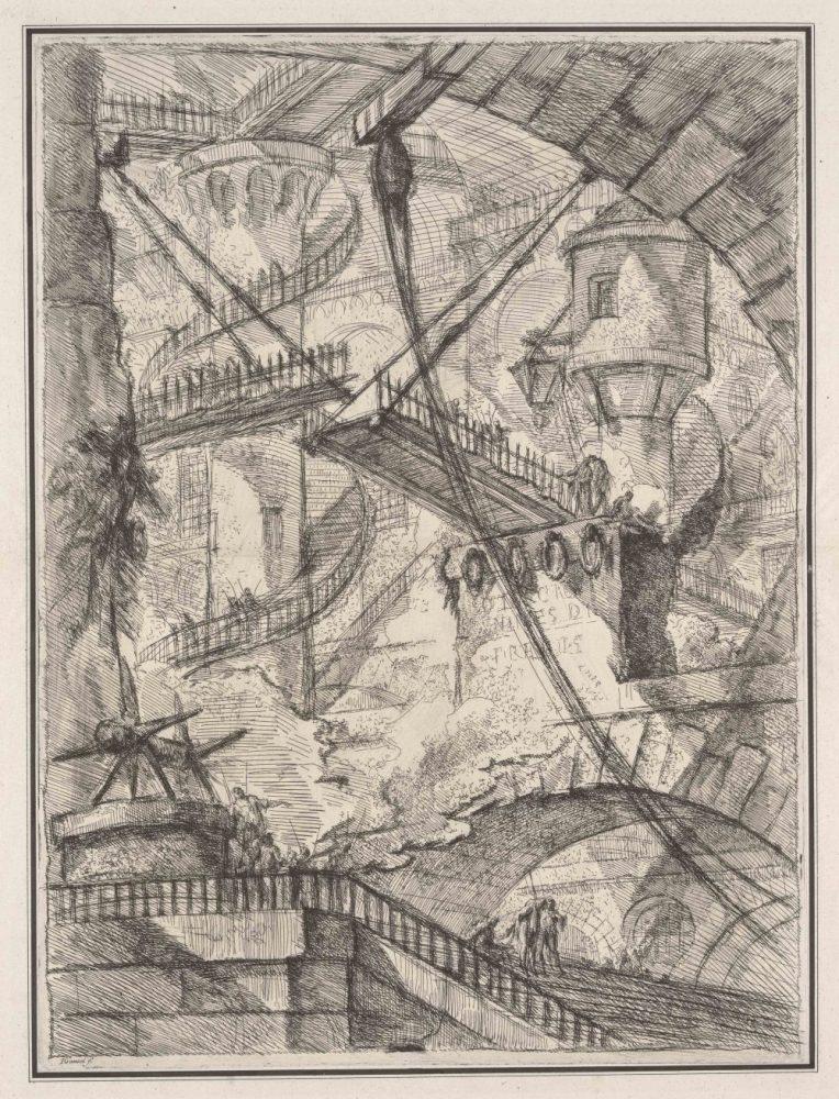 Giovanni Battista Piranesi: Die Zugbrücke, aus der Folge «Inven